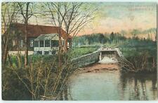 Providence Rhode Ten Mile River Scene Dam House 1909 Antique Postcard 24513