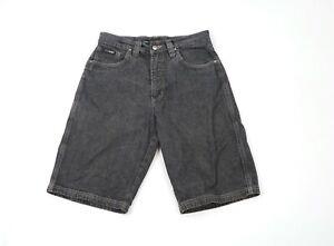 Vintage 90s FUBU Streetwear Mens 32 Spell Out Distressed Denim Jean Shorts Black