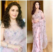 Raksha Bandhan Madhuri Dixit Pink Sari Embroidary Work Designer Georgette Saree