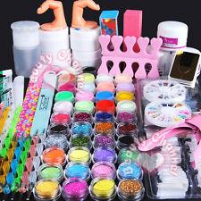 Pro 42 Acrylic Powder Glitter UV Gel Primer Nail Art Tips Pen Brush File Kit Set
