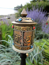 "LARGE 9+"" COLORFUL COPPER & BRASS OM MANTRA PRAYER WHEEL TIBETAN BUDDHIST NEPAL"