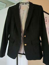 EUC Women's Banana Republic Blazer Hacking Jacket Black Wool 2 Button SZ 2