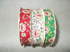 "3 Vtg Strawberry Shortcake Christmas Ribbon Rolls Weather Resistant 7/8"" Wide"
