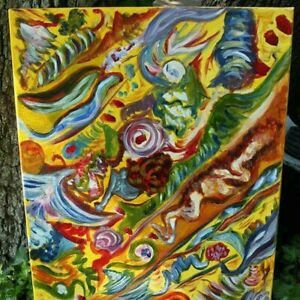 Psychedelic Folk Art, Beach Boys SMiLE Inspired Painting, Abstract, Art Deco