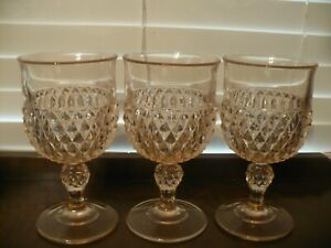 Indiana Glass Pink Diamond Point Goblets Set of 3 Excellent Condition