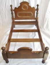 Doll Bed Antique Wood Wooden Victorian Display Dark Brown Finish (O2)