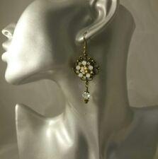Artisan Edwardian Victorian Art Deco style brass dangling drop earrings