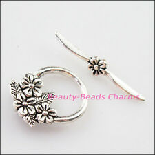 3Sets Tibetan Silver Leaf Flower Round Circle Bracelet Toggle Clasps Connectors
