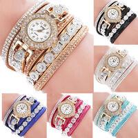 Fashion Women Stainless Steel Bling Rhinestone Crystal Bracelet Wrist Watch Gift