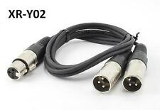 3ft XLR (3-Pin) Female Plug to 2-XLR Male Y-Splitter Cable, CablesOnline XR-Y02