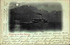 Schiffe Litho-AK ~1900 Schweiz Binnenschiff Ship Souvenir du Lac Léman Genfersee