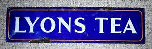 VINTAGE LYONS TEA ENAMEL ADVERTISING SIGN c1930