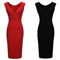 EG_ Women Magic V-neck Low-cut Sleeveless Bodycon Vest Party Pencil Dress