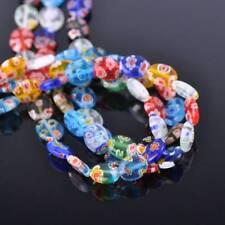 50pcs 8x10mm Flat Oval Mixed Millefiori Flower Glass Loose Craft Beads