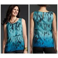 Cabi 142 Serene Ombre Tiered Silk Blouse Top Size Medium Sleeveless Blue NWT