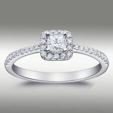 .55 ct Brilliant Halo Princess Cut Diamond Engagement Ring H/SI2 14K White Gold