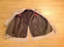 Vintage Gleneagles Khaki Faux Fur Lined Trench Coat Long Jacket Men's Size 42S