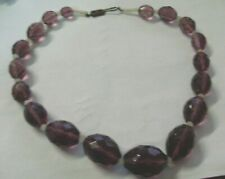 Vintage Faceted Amethyst Glass Bead Necklace