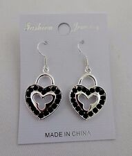 Heart dangle earrings silver base metal crystals