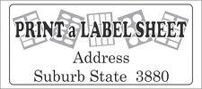 Custom Label / Sticker, Laser Printed, Return Address etc - 3 x A4 Sheets