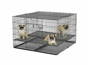 """MidWest Homes Pets Puppy Playpen 1"""" Floor Grid Two Door Access Large Safe New"""