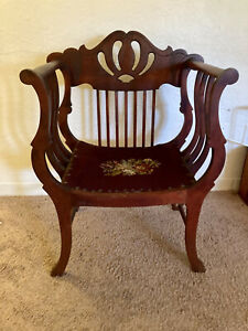 ANTIQUE Late 1800's Savonarola / Curule Chair with Harp Back.  Amazing condition
