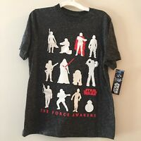 Star Wars Boy's Shirt The Force Awaken's T-Shirt Short Slv Charcoal Youth Size L