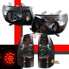 2005-2008 Toyota Tacoma Black Headlights Lamps + LED Tail Lights Smoke