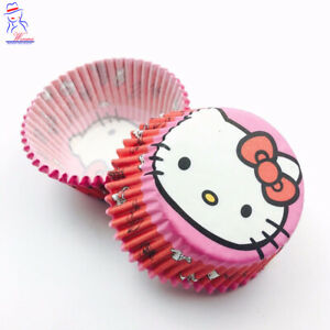 100Psc/Set Hello Kitty Pink Muffin Cups Paper Cupcake Liners Cases Baking Cake