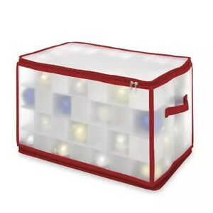 Whitmor Christmas Large Ornament Storage Zip Chest Hard Shell 112 Compartments