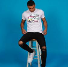 Mens Boys Skinny Jeans Ripped Slim fit Stretch Denim Distress Biker Jeans Black