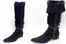 798€ BALDININI Krempel Leder Stiefel Gr.42 Tibet Lammfell gefüttert Schwarz