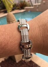 "Mens Hip Hop Silver CZ Iced Bling Kodak Black Jewelry Bracelet 8.5"" S#1"