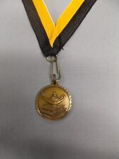 """gold lamp of knowledge on books medal 1 1/4"""" dia w/drape black & gold"""