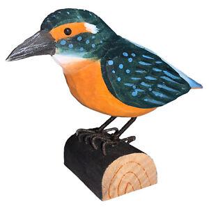 Handgeschnitzter heimischer Vogel stehend, Eisvogel aus Holz 12x9x5cm, Deko