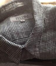 Feldini Men's Short Sleeve Linen 7-Front Buttons & Pocket Shirt  B/W Check Plaid