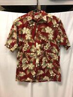 Campia Moda Hawaiian Shirt Mens Sz M Red Tan Floral Button Front Short Sleeve