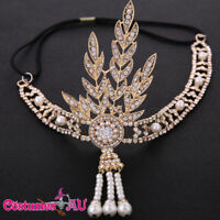 1920s 20s Gold Great Gatsby Headband Vintage Bridal Headpiece Costume Accessory