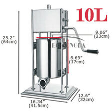 10L Manual Vertical Sausage Stuffer Meat Filler Machine New Stainless Steel