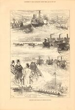 1878  ANTIQUE PRINT - SKETCHES AT THE OXFORD AND CAMBRIDGE BOAT RACE
