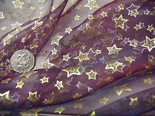 Stampato organza-twinkling stars-wine / Oro-Abito fabric-free P&P