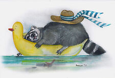 RARE Raccoon on inflatable duck by Plovetskaya Russian modern postcard