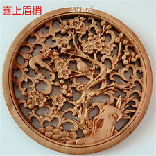 CHINESE HAND CARVED 喜上眉梢 STATUE CAMPHOR WOOD ROUND PLATE WALL SCULPTURE