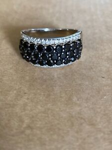 925 SD sterling black and clear stone ring