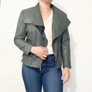 Co Op Barneys green leather jacket Women's M