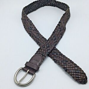Relic Braided Vegan Faux Leather BELT 2 Tone Black Brown Mens M Silver Buckle