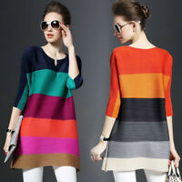 Women's Colorblock Blouse Casual 3/4 Sleeve T-Shirt Pleated Loose Dress Tops