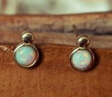 New 9ct Hallmarked Solid Yellow Gold Genuine Opal Design Stud Earrings