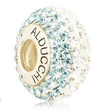 Alducchi Topaz Blue - Clear Swarovski Crystal 925  Silver European Charm Bead