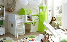 Lit mezzanine avec toboggan et tour EKKI Pin massif teinté blanc tissus Beige-Ve